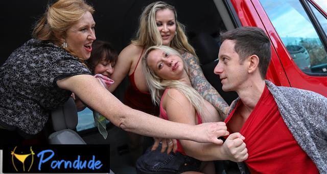 One Young Cock Versus Four Mature Sluts - Mature Van - Lilith Lee, Danny Bloom, Ginger Mi And Jarushka Ross